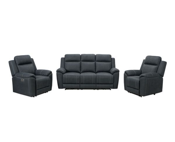 Haliday Manual 3 Seater with Twin Recliners – Jet