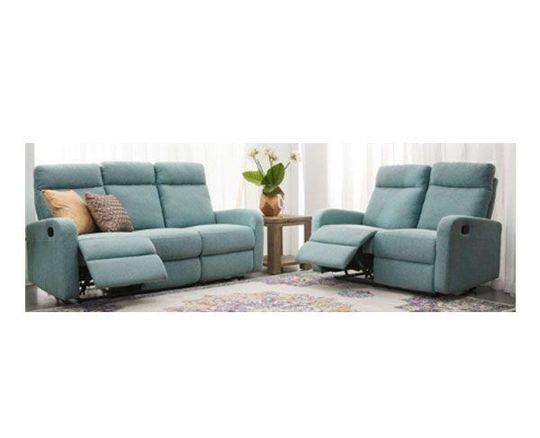Elliot 3 Seater   2 Seater Reclining Sofa Set in Fabric (Seafoam)