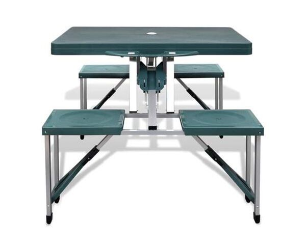 Foldable Green Camping Table with 4 Stools