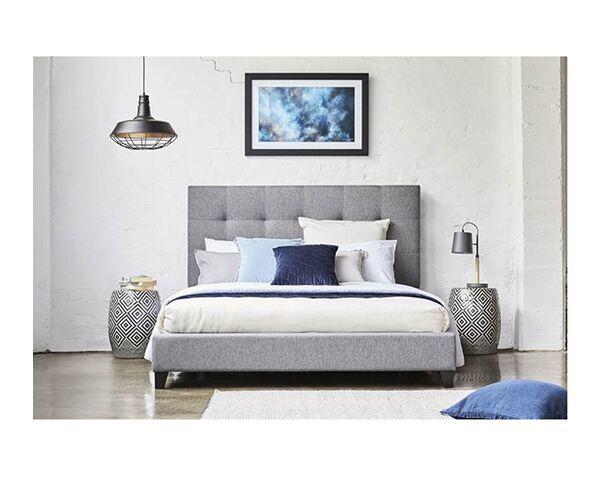 Melina Queen Bed - Light Beige