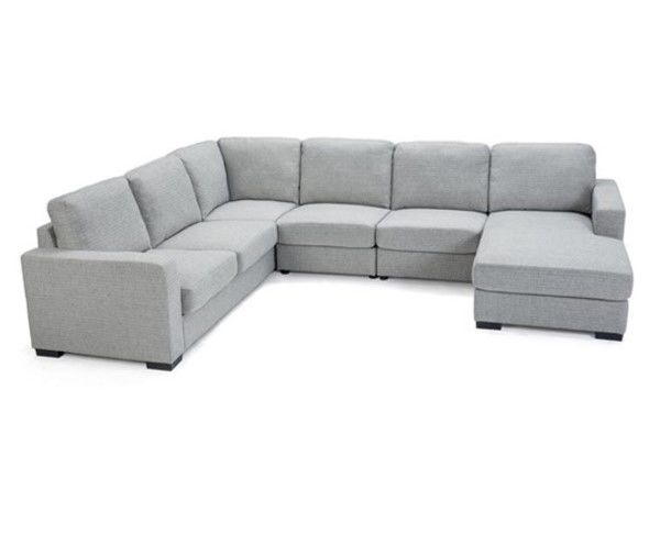 Bronte 6 Seater Sofa with Chaise - Stone
