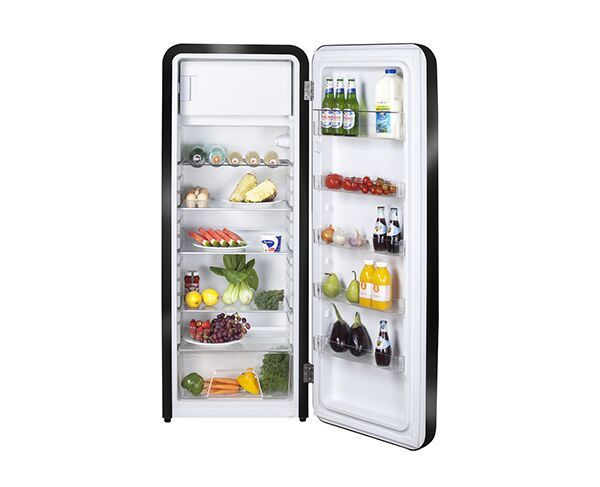330L Artusi Retro Style Top Mount Black Fridge