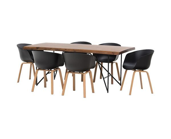 Live Edge 7 Piece Dining Suite with Baha Dining Chairs